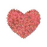 O ícone vermelho abstrato do coração, sinais de adição plásticos ama o símbolo Valentim transversais, emblema Pictograma simples  ilustração royalty free