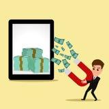 O ímã do uso do homem de negócios atrai a tabuleta do formulário do dinheiro Imagem de Stock Royalty Free