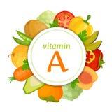 O índice da vitamina A no alimento Colagem do vetor ilustração royalty free