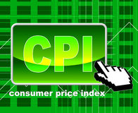 O índice de preços de consumo significa o world wide web e a pesquisa Imagens de Stock