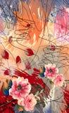 O ?leo abstrato pintou o fundo com flores originais ilustração royalty free