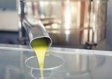 O óleo está derramando do tubo em uma fábrica da frio-imprensa fotografia de stock royalty free