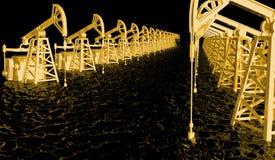 O óleo industrial do conceito da ilustração é o ouro preto, poços de petróleo dourados no mar preto do óleo - ilustração 3D imagem de stock
