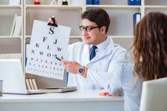 O ótico do doutor com a carta da letra que conduz uma verificação do teste do olho imagem de stock