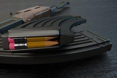 Ołówek w nabojowej klamerce, 3D rendering Zdjęcia Royalty Free