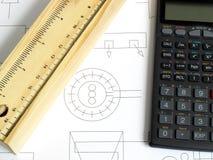 Ołówkowa skrzynka & kalkulator Obraz Stock