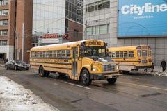O ônibus escolar de Freightliner FS 65 no serviço em uma parte residencial de Toronto do centro, um outro ônibus escolar amarelo  Imagem de Stock Royalty Free