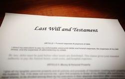 O último e testamento Fotografia de Stock