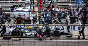 O último poço de Tony Kanaan antes de ganhar Indy 500 2013 Foto de Stock
