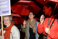O único março das mulheres na recuperação de Londres a noite 2014 Fotografia de Stock Royalty Free