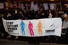 O único março das mulheres na recuperação de Londres a noite 2014 Imagens de Stock