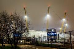 O2ий арена в ноче, Лондон Стоковые Изображения