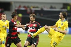 O ‡ de Chicharito, de Admir Mehmedi Bayer Leverkusen e de Nemanja MilunoviÄ REDUZ Borisov Imagens de Stock