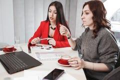 o 两位设计师与膝上型计算机和文献一起使用在内部项目 免版税库存照片