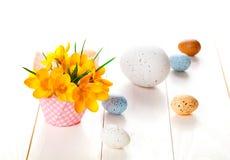 O açafrão floresce no fundo de madeira branco, sagacidade da decoração da mola Fotos de Stock