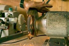O aço está trabalhando com motores bondes fotos de stock royalty free