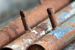 O aço tubular é oxidação foto de stock