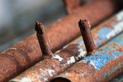O aço tubular é oxidação fotografia de stock