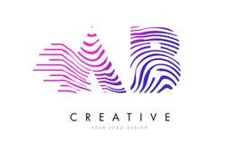 O AB uma zebra de B alinha a letra Logo Design com cores magentas Fotos de Stock Royalty Free