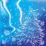 O abeto de ano novo em um fundo azul Imagem de Stock Royalty Free