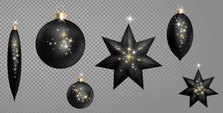 O abeto realístico da bola do Natal do preto 3d brinca a faísca de prata dourada da forma da estrela Manipulação do ouro da decor Imagens de Stock
