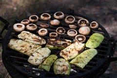 O abobrinha e o cogumelo apetitosos cozem o assado Imagem de Stock