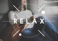 O abrandamento relaxa refrigera para fora o conceito de descanso da serenidade da paz foto de stock