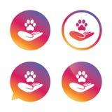 O abrigo pets o ícone do sinal A mão guarda o símbolo da pata ilustração stock