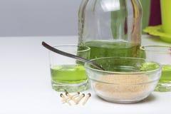 O absinto é verde Em uma garrafa e derramado em vidros Açúcar mascavado para a caramelização de uma bebida e fósforos para açúcar Fotografia de Stock Royalty Free