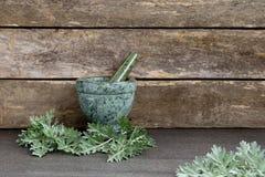 O absinto fresco Herb Leaves com o almofariz e o pilão de mármore verdes imagens de stock