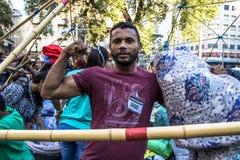 O acampamento desabrigado e tende em Sao Paulo do centro fotografia de stock royalty free