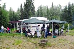O acampamento no ponto da pesca Foto de Stock