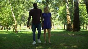O acoplamento da surpresa no parque, homem de ajoelhamento faz a proposta com anel, par feliz vídeos de arquivo