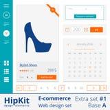 O acréscimo dos elementos do design web do comércio eletrônico ajustou 1 Imagens de Stock