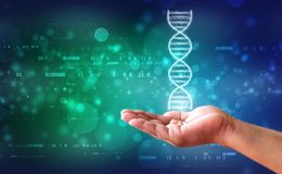 O ADN e as genéticas pesquisam o conceito, fundo abstrato médico foto de stock