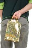 O adolescente esconde o pacote com presentes imagens de stock royalty free