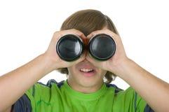 O adolescente olha através de um frasco antes dos olhos fotos de stock