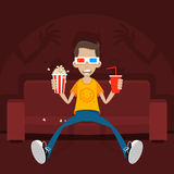 O adolescente senta-se no sofá nos vidros 3D Foto de Stock Royalty Free