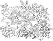 O adulto floresce a coloração, ilustração Fotos de Stock