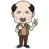 o ?Bald dirigiu o caráter do homem - sorrindo com o dedo 2 entregue o sinal Imagem de Stock Royalty Free