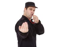 O agente da segurança dirige o tráfego Imagens de Stock
