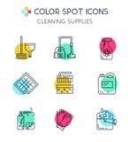 O agregado familiar do anad da limpeza fornece ícones Imagens de Stock