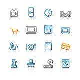 O agregado familiar do contorno e-compra ícones Imagem de Stock