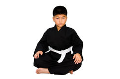 O Aikido no quimono em um fundo branco. Imagens de Stock Royalty Free