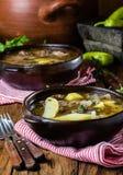 O ajiaco latinamerican chileno tradicional da sopa da carne serviu na placa da argila Imagem de Stock Royalty Free