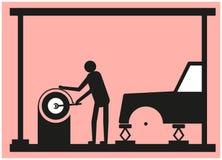 O ajustador do pneu repara a movimentação da roda ilustração stock
