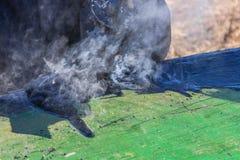 O alcatrão quente é barco de madeira derramado Imagem de Stock