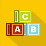 O alfabeto colorido cuba o ícone, estilo liso ilustração stock