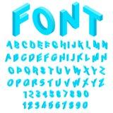 O alfabeto com ícones dos números ajustou o estilo 3d isométrico ilustração stock