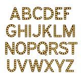 O alfabeto com ampolas, letras com lâmpadas, fonte da lâmpada, incandescendo rotula a imitação, ilustração do vetor ilustração do vetor
